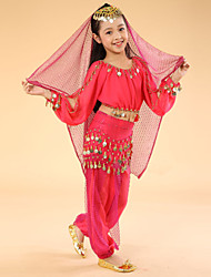 Belly Dance Performance Outfits Children's Performance Chiffon/Polyester Coins Outfit Fuchsia/Red/Yellow Kids Dance Costumes