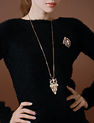 Retro Opal Owl Sweater Chain Necklace