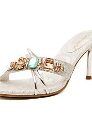Damen-Sandalen-Kleid-Kunstleder-StöckelabsatzGold Silber