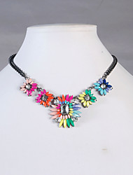 JANE STONE Colorful Gold Flower Fashion Statement Necklace