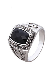 Ibecci Square Carved Black Cubic Zirconia  Bands Rings for Men