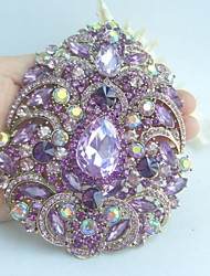 Women Accessories Gold-tone Lavender Rhinestone Crystal Flower Brooch Art Deco Crystal Brooch Bouquet