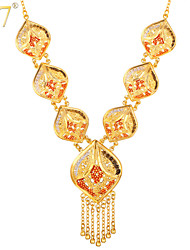 U7® Women's Pretty 18K Real Gold Plated Tassels with Little Beads Enamel Chandelier Charms Statement Necklace