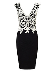 Women's Sexy V Neck Applique Contrasting Lace Dress
