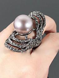 Fashion Rhinestone Stretch Pearl Ring