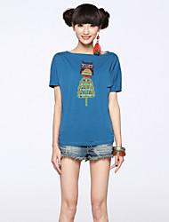 Women's Bateau T-Shirts , Cotton Casual Short Sleeve SSHJP