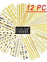 דפוסים שונים כל 12 יח צמידים ארוכים מדבקות קעקוע (דפוסים אקראיים) סנטימטר 14x6