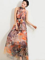 Women's Bohemian Casual Inelastic Ruffle Ethnic Print Sleeveless Maxi Beach Dress (Chiffon)