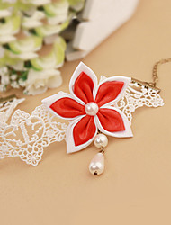Women Fashion Body Jewelry Summer Beach Gothic Style Charm Vintage Casual Lace Pearl Flower Red Rose Anklets