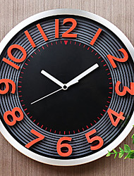 "Fashion/Modern 12"" Metal Round Wall Clock Noiseless Wall Clock Alloy Clock Orange Red 3D Numbers Men's Bedroom Gift"