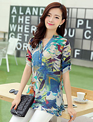 Women's Fashion Casual Loose Print ¾ Sleeve Blouse