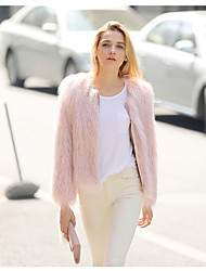 Fur Coats Coats/Jackets Long Sleeve Faux Fur Pink/Ivory