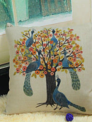 Peacock Pillow Cover Reactive Printing Linen Fabric Ikea Decoration