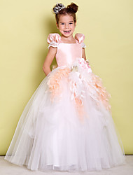 Ball Gown Floor-length Flower Girl Dress - Taffeta / Tulle Short Sleeve Square with Bow(s) / Flower(s)