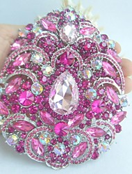 Women Accessories Silver-tone Pink Rhinestone Crystal Flower Brooch Art Deco Crystal Brooch Bouquet Women Jewelry