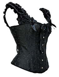 Women Polyester/Satin Hook & Eye Overbust Corset