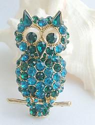 Women Accessories Turquoise Green Rhinestone Crystal Brooch Art Deco Bird Owl Brooch Women Jewelry
