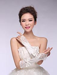 Bridal Gloves Satin/Lace Elbow Length Wedding/Party Elegant Bow Glove White