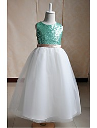A-line Floor-length Flower Girl Dress - Silk / Tulle / Sequined Sleeveless Jewel with