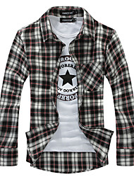 2012 nouveaux hommes shirt +'S chemises sport Slim Fit élégantes, de motif de grille, à manches longues, plus la taille, dropshipping