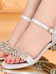 Sandali - Scarpe da donna - Tacco spesso - Tacco spesso DI Gomma - Oro/Argento