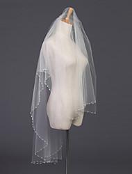 Wedding Veil Two-tier Elbow Veils Pearl Trim Edge