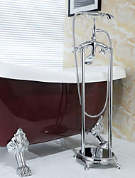 Antique Floor Mounted Handshower Included / Floor Standing with  Ceramic Valve Two Handles Two Holes for  Chrome , Bathtub Faucet