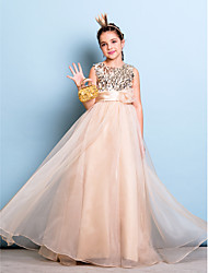 Lanting Bride® Floor-length Organza / Sequined Junior Bridesmaid Dress A-line Jewel Natural with Flower(s) / Sash / Ribbon / Sequins