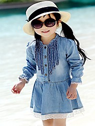 Lijin 2015 New Fashion Hot Sale Girl's Summer/Spring/Fall Micro-elastic Thin Long Sleeve Dress (Cotton)