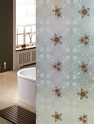 Bathroom Window Film & Stickers,  Brown Flower Glass Door Sticker (100*90cm)