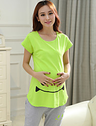 Maternity Breast-feeding Clothing Sets (Print Blouse & Capri Pants)