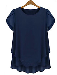 Kaman Women's Casual/Work Round Short Sleeve Tops & Blouses (Chiffon)