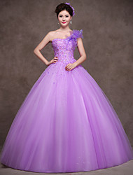 Formal Evening Dress - Lilac Ball Gown One Shoulder Floor-length Satin/Tulle/Stretch Satin