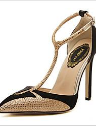 Zapatos de mujer Satén Tacón Stiletto Tacones Pumps/Tacones Exterior/Oficina y Trabajo Negro/Blanco