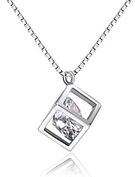 HKTC Sweety 18k White Gold Plated Clear Simulated Diamond Water Cube Box Pendant Necklace