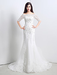 Trumpet/Mermaid Wedding Dress - White Court Train Bateau Lace/Satin