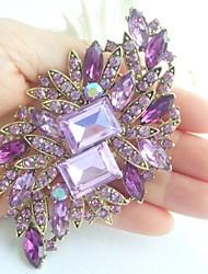 Women Accessories Gold-tone Lavender Rhinestone Crystal Brooch Bouquet Art Deco Flower Brooch Women Jewelry