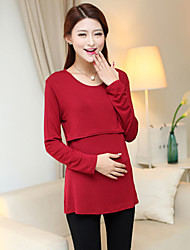 Women's Casual Stretchy Long Sleeve Long Maternity Blouse (Lycra)