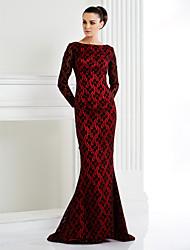 ts couture® de noite formal / vestido de gala do laço preto plus size / trompete petite / sereia bateau varrer / laço trem pincel com