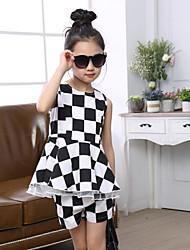 Girl's Summer Micro-elastic Medium Short Sleeve Clothing Sets (Cotton/Cotton Blends)