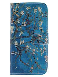 conception de fleur d'abricot PU cas de stand en cuir avec fente pour carte sony xperia z3