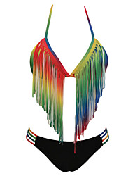 Women's Gradient Rainbow Long Fringe Bikini