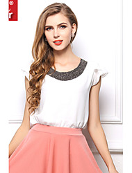 Women's Sequin Shuxuer ® Casual/Work Inelastic Short Sleeve Regular Blouse (Chiffon)