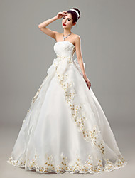 Ball Gown Strapless Floor Length Organza Wedding Dress with Bow Criss-Cross Embroidered by JUEXIU Bridal