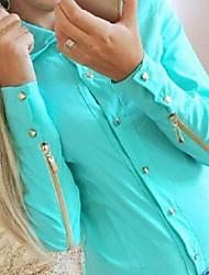 Camisas Casuales ( Poliéster )- Casual Cuello de camisa Manga Larga para Mujer