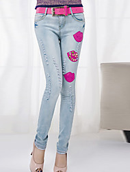Women's Personalized Gold Diamond Red Lips Jeans