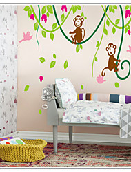 Monkeys Playing With Birds On Tree Vine Wall Decal Zooyoo9012 Decorative Removable Pvc Wall Sticker