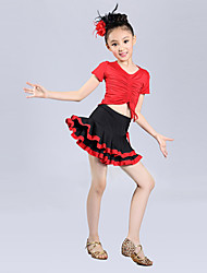 Latin Dance Performance Outfits Children's Performance Polyester Cascading Ruffle Outfit Blue/Fuchsia/Red Kids Dance Costumes