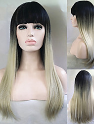 Cheap Wigs Two-Tone 1B/Silver Blonde Fashion Ombre Celebrity Wig Straight Female Elegant Wigs Straight Wig Synthetic