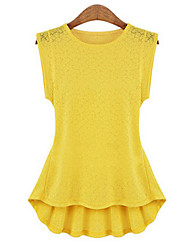 Kaman Women's Casual/Work Round Sleeveless Tops & Blouses (Lace)